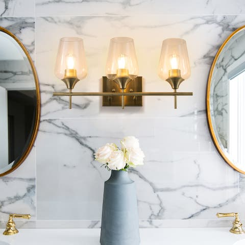 CO-Z Wall Sconce Vanity Light with Glass Shade, Antique Brass-1 light/ 2 lights/ 3 lights/ 4 lights