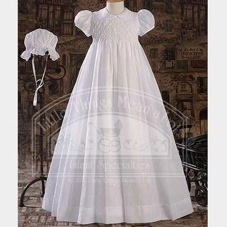 Baby Girls Pretty White Smocked Christening Baptism Dress Gown SM-LG