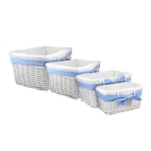 Lukasian House White Willow Baskets with Blue Bow, Set of 4