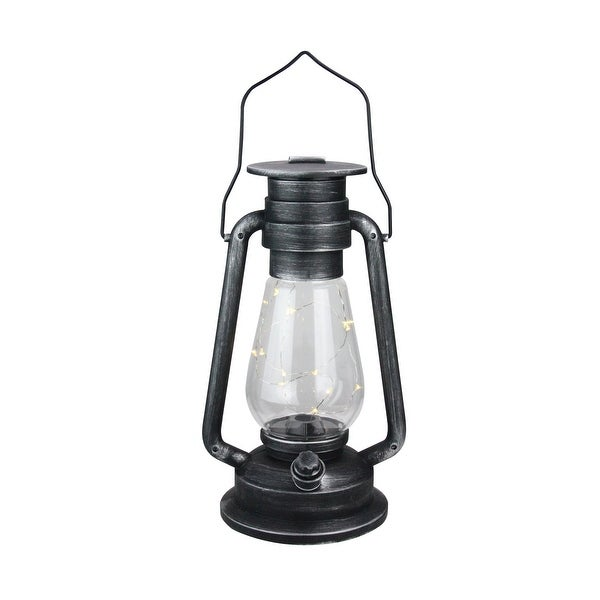"""12"""" Silver Brushed Black Traditional Lantern with Micro Lights - N/A"""