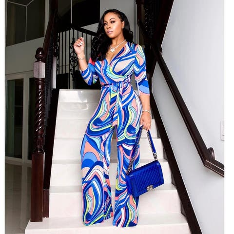 Tinyhi Tie-Dye V-Neck Three Quarter Sleeve Jumpsuit With Abstract Stripe And A Belt,Blue And Rose