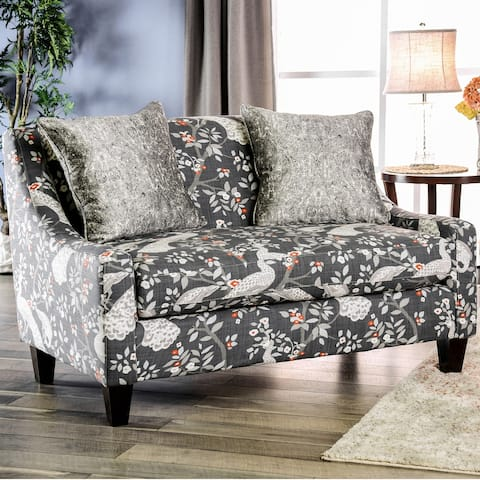 Furniture of America Stas Transitional Black Fabric Damask Settee