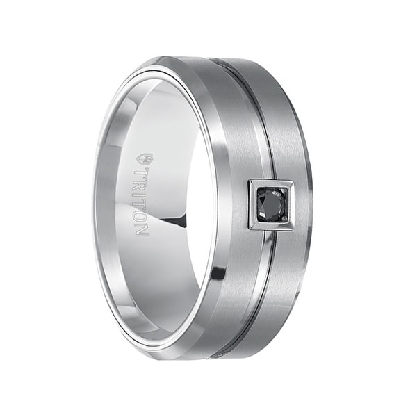 SHERMAN Beveled Grooved Brushed Finish White Tungsten Ring Black Diamond Square Bezel by Triton Rings- 9mm