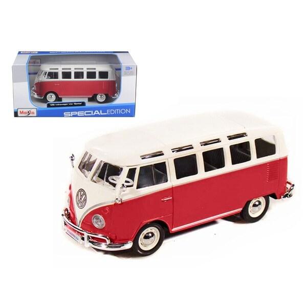 Volkswagen Samba Bus Red 1/25 Diecast Model Car by Maisto