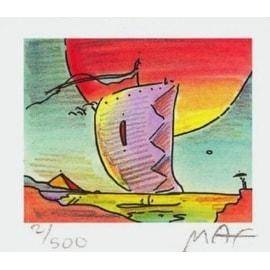 "Sailboat Series IV, Ltd Ed Litho (Mini 2.75"" x 3.125""), Peter Max"