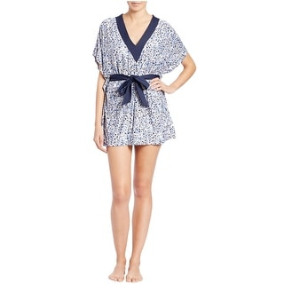 Michael Kors V-Neck Floral Womens Cover Up Tunic New Navy Medium Large M/L