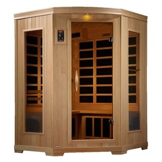 GDI Luxury 2 to 3-person Far Infrared Carbon Hemlock Wood Corner Sauna