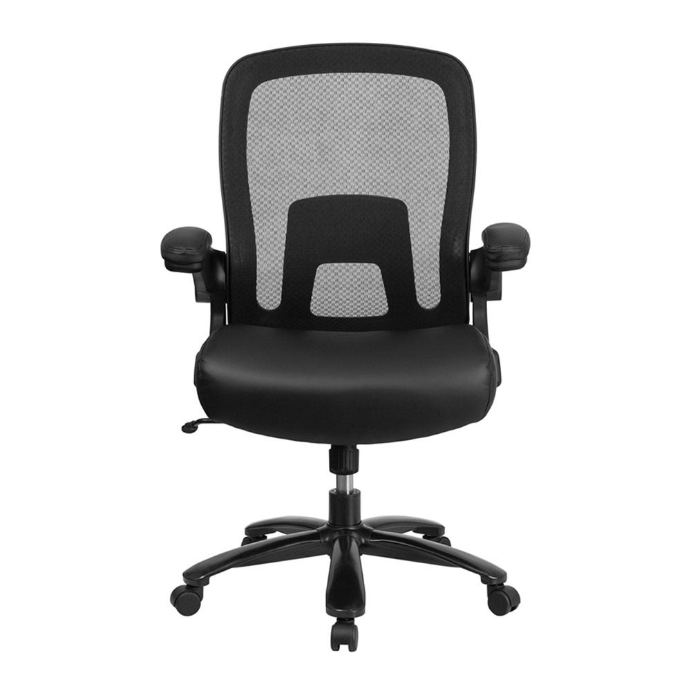 Offex Big and Tall 500 lb Rated Black Mesh Leather Executive Ergonomic  Office Chair with Adjustable Lumbar Support