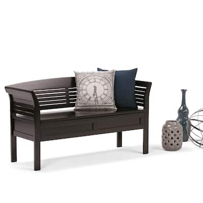 WYNDENHALL Raleigh SOLID WOOD 49 inch Wide Contemporary Entryway Storage Bench - 49 W x 18 D x 27 H