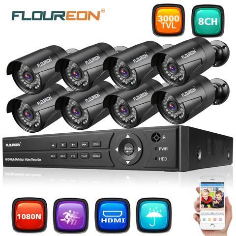 FLOUREON 1 X 8CH 1080P 1080N AHD DVR + 8 X Outdoor 3000TVL 1080P 2.0MP Camera Security Kit