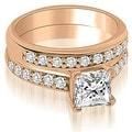 1.15 cttw. 14K Rose Gold Cathedral Princess Cut Diamond Bridal Set - Thumbnail 0
