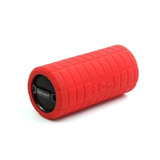 Unique Bargains Red Rubber Coated Micro SD Card Cylinder Bass Subwoofer Tube for Motorcycle