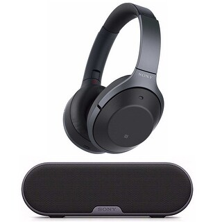 Sony Wireless Noise Cancelling Headphones (Black) with Portable Wireless Speaker