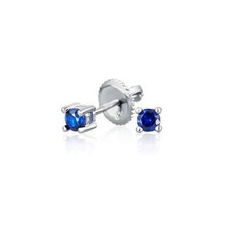 Bling Jewelry Blue CZ Screwback Stud earrings 925 Sterling Silver 3mm