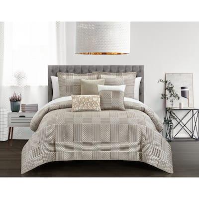 Chic Home Jodi 10 Piece Chenille Geometric Patterns Design Comforter, Beige