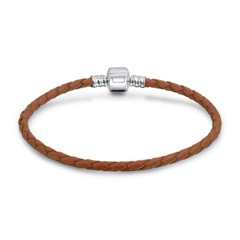 Starter Brown Braided Leather Bracelet For Women For Teen Fits European Beads Charm 925 Sterling Silver 6.5 7.5 8 9 Inch