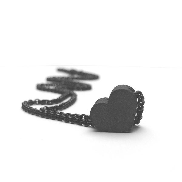 Loralyn Designs Small Black Heart Necklace Matte Stainless Steel
