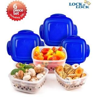 Lock & Lock 6 Piece Ornament Square Plastic Food Storage Container Set