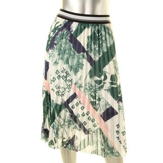 Kiind Of Womens Piper Metallic Mid-Calf Broomstick Skirt