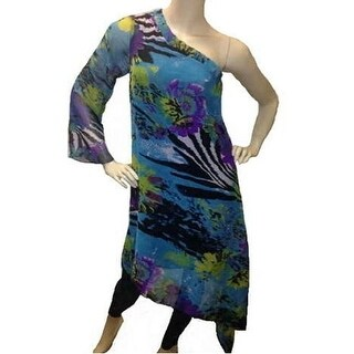Blue Zebra One-Shoulder Dress