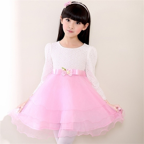 3e1839f91 Shop Autumn Girls Dresses Fashion Print Lace Splice Long-sleeved ...
