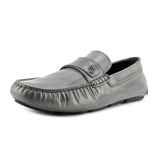 Hogan Wrap 185 MOD Men Round Toe Patent Leather Gray Loafer