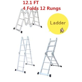 Heavy Duty Aluminum Fold Step Ladder Scaffol 12.1 ft Multi-Purpose Extendable US