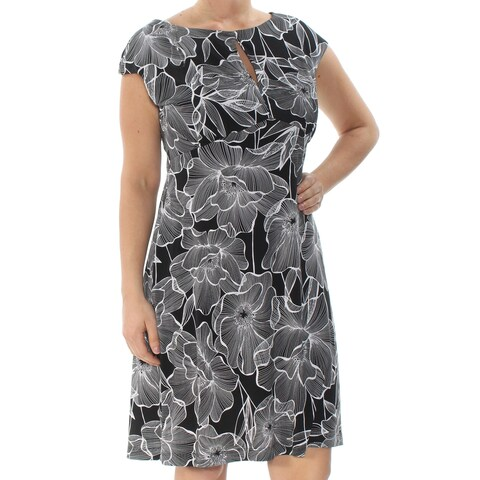 CONNECTED Womens Black Floral Cap Sleeve Keyhole Knee Length Sheath Wear To Work Dress Size: 14