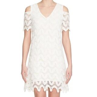 1. State NEW White Womens Size Medium M Lace Cold-Shoulder Sheath Dress