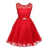 Good Girl Little Girls Red Lace Overlaid Brooch Flower Girl Dress