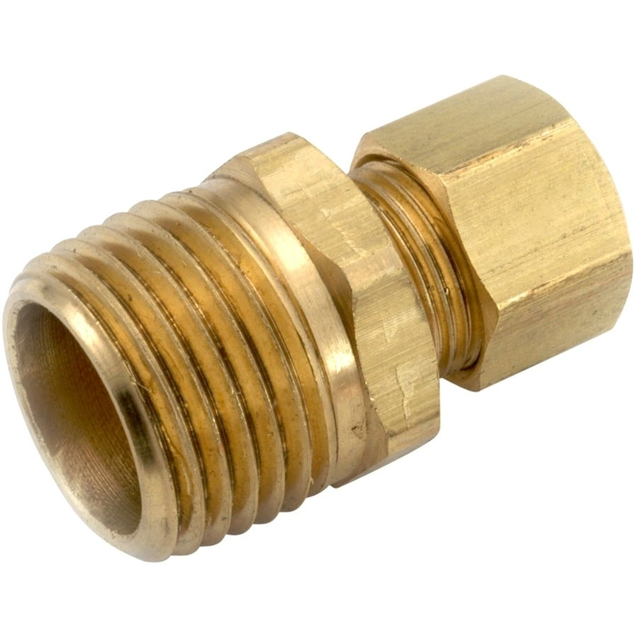 Anderson Metals 750068-0604 Lead Free Connector, Brass, 3/8 CMP x 1/4 MPT