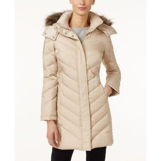 Kenneth Cole Faux-Fur-Trim Chevron Quilted Champagne 2-Extra Large