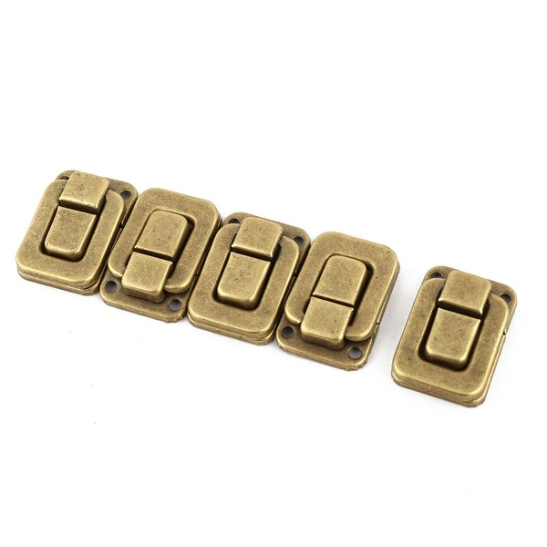2 Pcs Necklace Box Case Lock Hook Hinge Latch Hasp Sets Bronze Tone w Screws