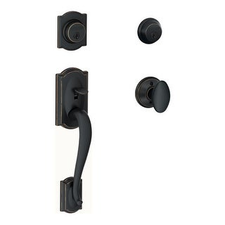 Schlage F62-CAM-SIE  Double Cylinder Camelot Handleset with Siena Interior Knob from the F-Series