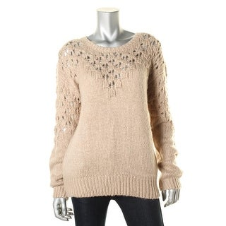 One A Womens Ribbed Knit Open Weave Tunic Sweater