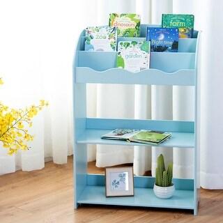 Gymax Kids Teen Bookshelf Magazine Storage Bookcase 3-Tiers Furniture Gift Study Blue