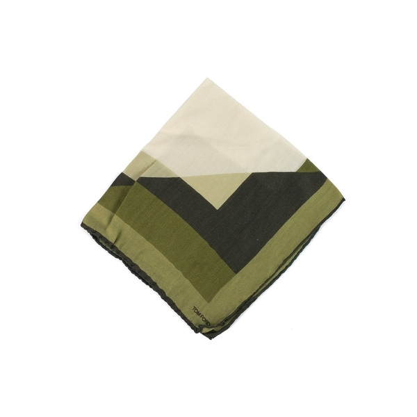 Tom Ford Green Tone Geometric Silk Blend Pocket Square