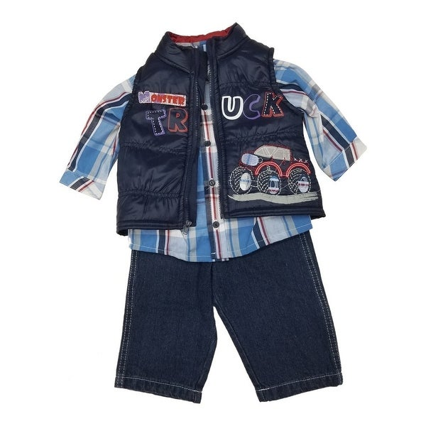 Little Rebels Baby Boys Navy Truck Vest Plaid Shirt 3 Pc Denim Pant Set