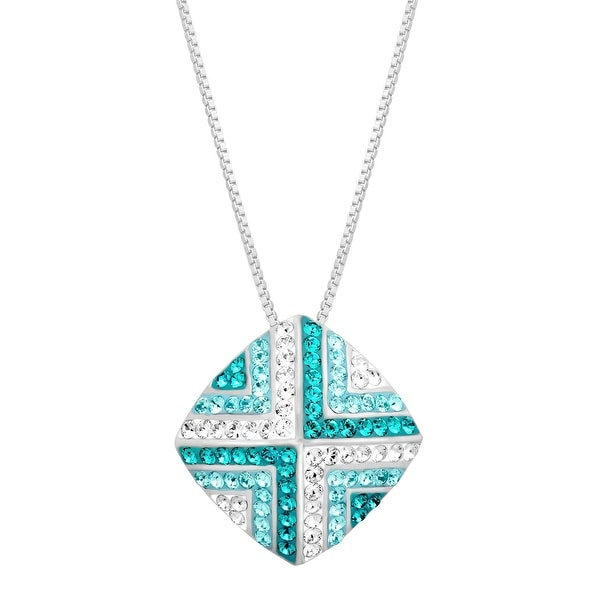 Crystaluxe Geometric Tile Pendant with Swarovski Crystals in Sterling Silver - Blue
