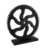 Industrial Cogwheel Black Distressed Wooden Gear Sculpture On Stand 13 in.