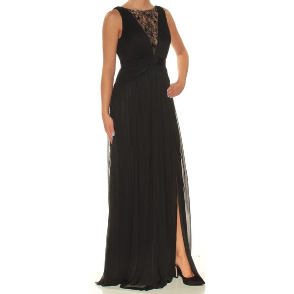 e021b7cca96 Shop ADRIANNA PAPELL Womens Black Sheer Slitted Sleeveless Jewel Neck  Full-Length Fit + Flare Formal Dress Size  2 - On Sale - Free Shipping On  Orders Over ...