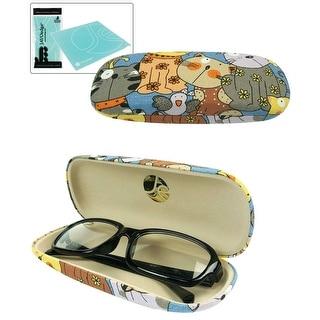 JAVOedge Cartoon Cat Pattern Eyeglass / Reading Glass Hard Case and Bonus Microfiber Cleaning Cloth