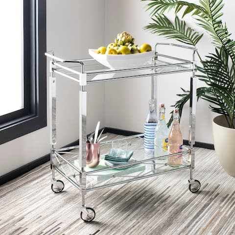 "SAFAVIEH Ingrid 2 Tier Bar Cart -Chrome / Glass - 31.5"" x 16"" x 30"""
