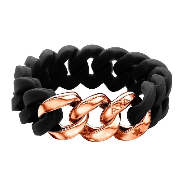 Silix by Aya Black Silicon Bracelet with 18K Rose Gold-Plated Stainless Steel