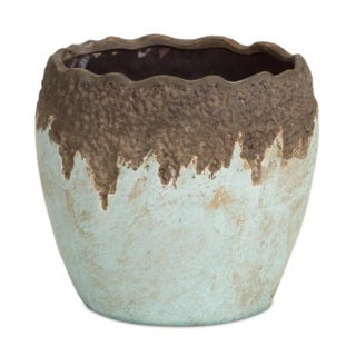 Pack of 2 Crackle Finished Pastel Blue and Brown Edged Ceramic Planters Pots 10""