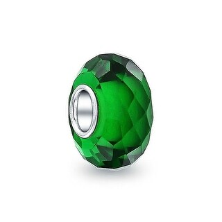Bling Jewelry Green Faceted Crystal Imitation Emerald glass Charm Bead .925 Sterling silver