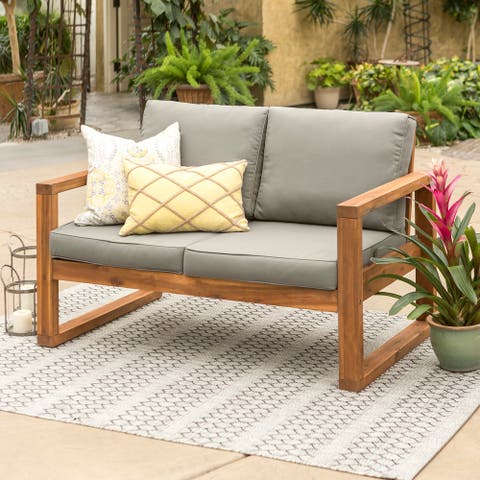 Hudson Brown Acacia Outdoor Love Seat with Grey Cushions