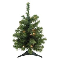 "18"" Pre-Lit Natural Two-Tone Pine Artificial Christmas Tree - Clear Lights - Green"