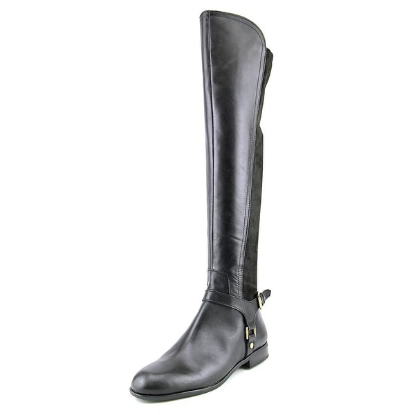 Franco Sarto Mast Women Round Toe Leather Black Over the Knee Boot