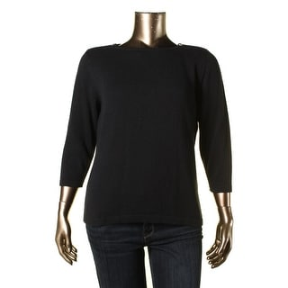 Karen Scott Womens Knit Zip Shoulder Pullover Sweater